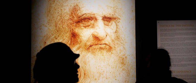 Portrait de Léonard de Vinci exposé à Athènes, à l'occasion des 500 ans de la mort du savant, par ailleurs artiste, le 29 novembre 2018.