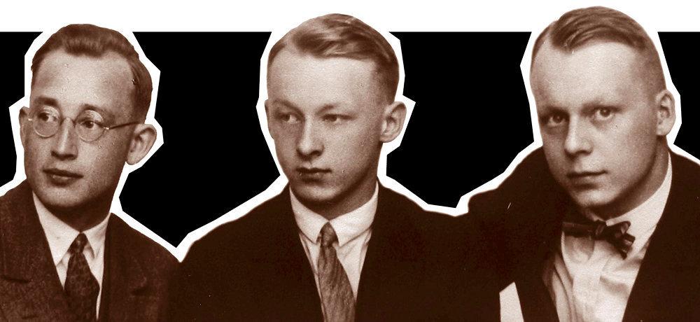 Fratrie. Otto (a dr.), le grand-pere de Chris Kraus, avec ses deux freres, Hans et Lorenz. Ils ont fait partie des sinistres Einsatzgruppen, qui ont orchestre la Shoah par balles.