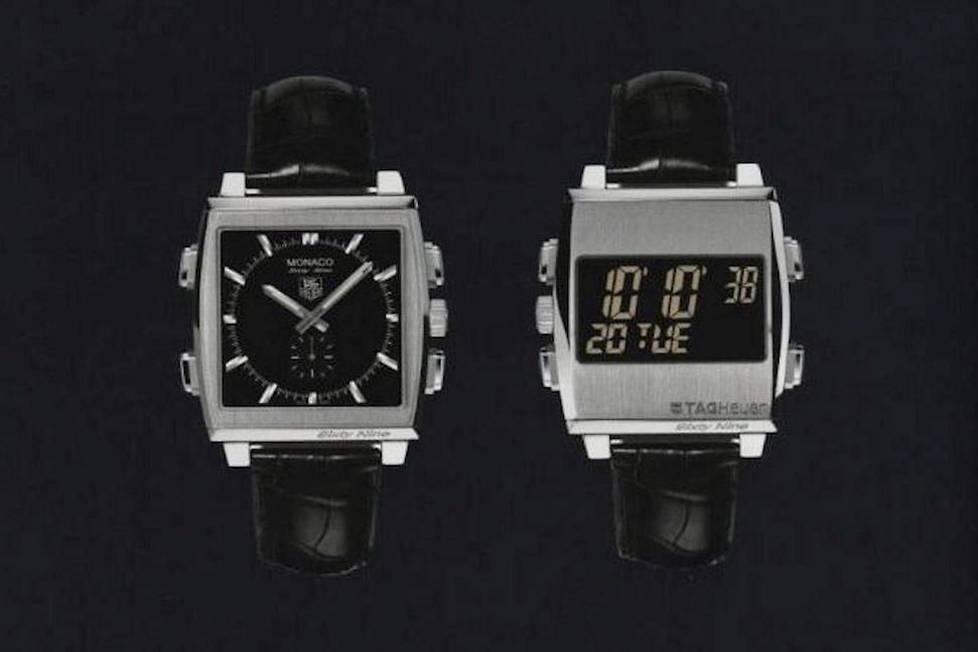 <p><strong>Monaco Sixty Nine.</strong> Mécanique de face, à quartz de dos, elle est la première montre mécanique avec un chronographe précis au 1/1000e de seconde.</p> <p></p>