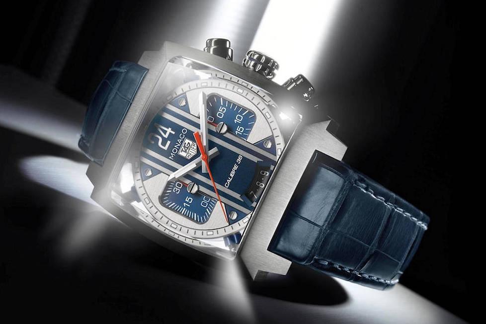 <p><strong>Monaco 24 McQueen. </strong>Equipée d'un chronographe de 40,5 mm de diamètre, elle embarque un Calibre 36, protégé par un système d'absorption dynamique qui se révèle à travers un verre saphir.</p>