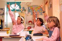 Des eleves de l'ecole primaire de Mailley (Haute-Saone). Image d'illustration.