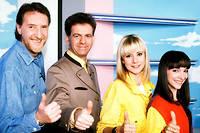 Corbier, Jacky, Dorothée et Ariane dans l'émission «Club Dorothée» sur TF1.