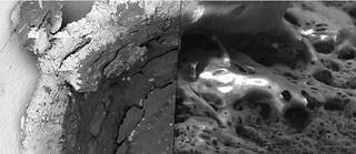 Pour se faire une idée de la physionomie des astéroïdes de fer, des chercheurs ont orchestré, en laboratoire, des impacts hyper-véloces entre des projectiles silicatés, hydratés ou non, et des cibles d'acier ou des météorites de fer. Ces deux images sont issues de leurs résultats observés au microscope électronique.
