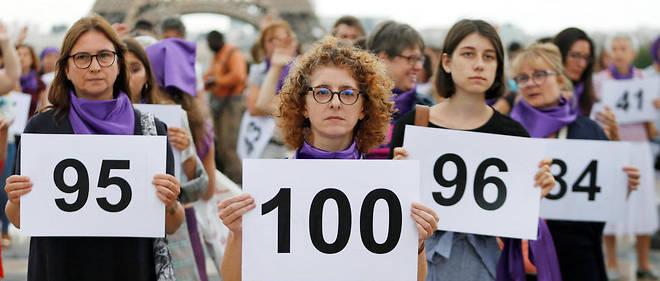 Manifestation pour dénoncer le 100e féminicide de 2019, le 1er septembre, à Paris.