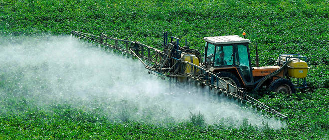 Un fermier traitant ses champs avec des herbicides et fongicides.