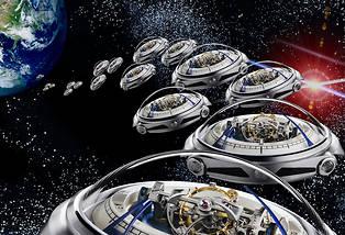 <p>La montre Deep Space de Vianney Halter, comme une escadrille d'ovnis horlogers fondant sur la Terre.</p> <p></p>