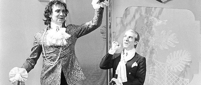 Michel Sardou jouant une scène de «La Cage aux folles», en 1982, avec Jean Poiret.