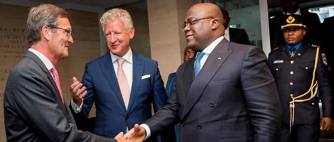 Le président de la FEB Bernard Gilliot et le ministre Pieter De Crem accueillent Félix Tshisekedi, le 17 septembre 2019.