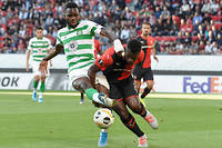 Celtic' French forward Odsonne Edouard (L) vies with Rennes' French defender Joris Gnagnon during the UEFA Europa League Group E football match between Rennes (stade Rennais FC)  and Celtic Glasgow (Celtic FC) at the Roazhon Park stadium in Rennes on September 19, 2019. (Photo by Sebastien SALOM-GOMIS / AFP), Celtic' French forward Odsonne Edouard (L) vies with Rennes' French defender Joris Gnagnon during the UEFA Europa League Group E football match between Rennes (stade Rennais FC) and Celtic Glasgow (Celtic FC) at the Roazhon Park stadium in Rennes on September 19, 2019. (Photo by Sebastien SALOM-GOMIS / AFP)