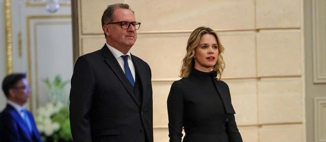 Le president de l'Assemblee nationale, Richard Ferrand, et sa compagne, Sandrine Doucen, lors d'un diner a l'Elysee en octobre 2018.