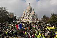 Manifestation des Gilets jaunes a Paris, devant le Sacre-Coeur, le 23 mars 2019.