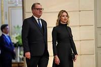Le président de l'Assemblée nationale, Richard Ferrand, et sa compagne, Sandrine Doucen, lors d'un dîner à l'Élysée en octobre 2018.