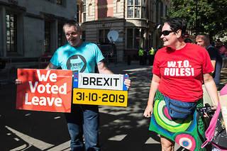 Des supporteurs du Brexit manifestent à Londres le 19 septembre.