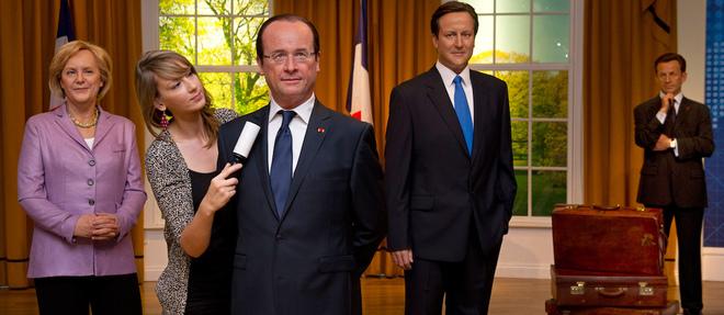 Angela Merkel, Francois Hollande, David Cameron et Nicolas Sarkozy... chez Madame Tussauds, le celebre musee de statues de cire.