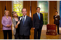 Angela Merkel, François Hollande, David Cameron et Nicolas Sarkozy... chez Madame Tussauds, le célèbre musée de statues de cire.
