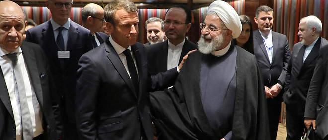Emmanuel Macron sortant d'une éprouvante rencontre avec son homologue iranien Hassan Rohani, le 23 septembre 2019, à New York.