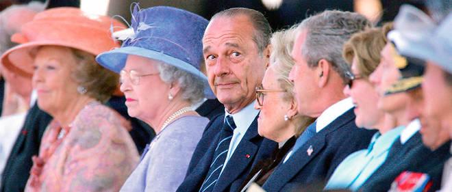 Jacques Chirac lors du 60eanniversaire du Débarquement allié, à Arromanches, le 6juin 2004.