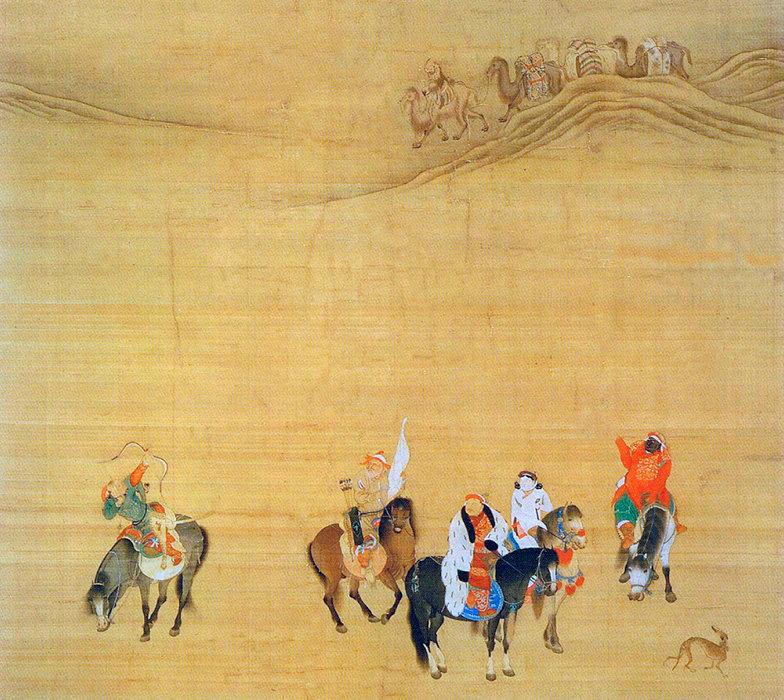 L'empereur à cheval. «Kubilai Khan à la chasse», peinture sur rouleau chinoise (1280, détail).