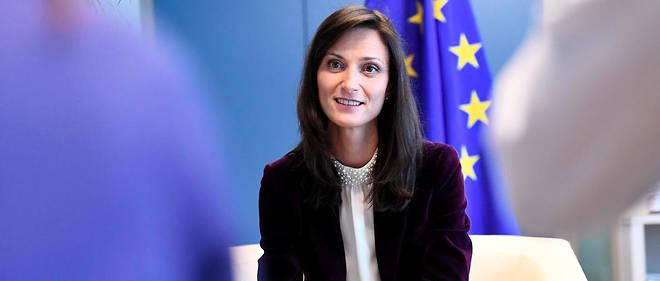 Mariya Gabriel lors d'un point presse le 8 mars 2018 à Bruxelles.