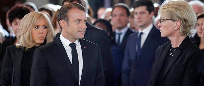 Emmanuel Macron et Claude Chirac lors de la messe à Saint-Sulpice le 30 septembre 2019.