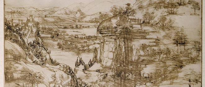 Paysage dans la vallée de l'Arno, 1473, encre sur papier (19,4 x 28,6 cm), le premier dessin connu de Vinci.