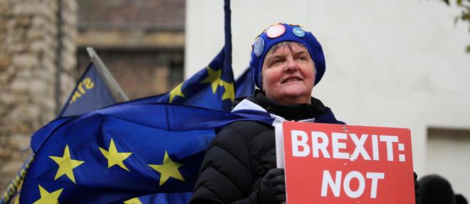 Une manifestante opposée au Brexit tient une pancarte devant le Parlement le 13 mars dernier à Londres.
