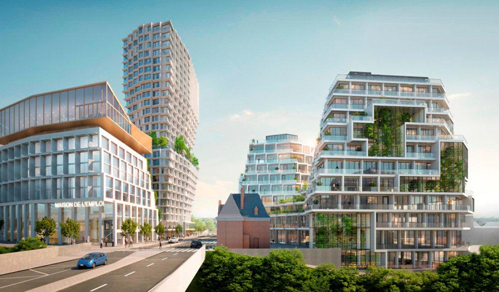 Silhouettes. Le projet du futur quartier EuroRennes: des immeubles végétalisés tout de verre et d'acier entre lesquels se niche la tour Samsic et ses 82mètres de hauteur.