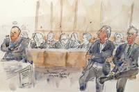 Dessin d'illustration du grand procès du Mediator qui s'est ouvert le 23 septembre 2019 à Paris.