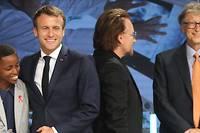 <p>Le président Macron avec le chanteur Bono, le milliardaire Bill Gates et la Burundaise Amanda Dushime. Le témoignage de cette dernière a mis les participants devant leurs responsabilités.</p> <p></p>