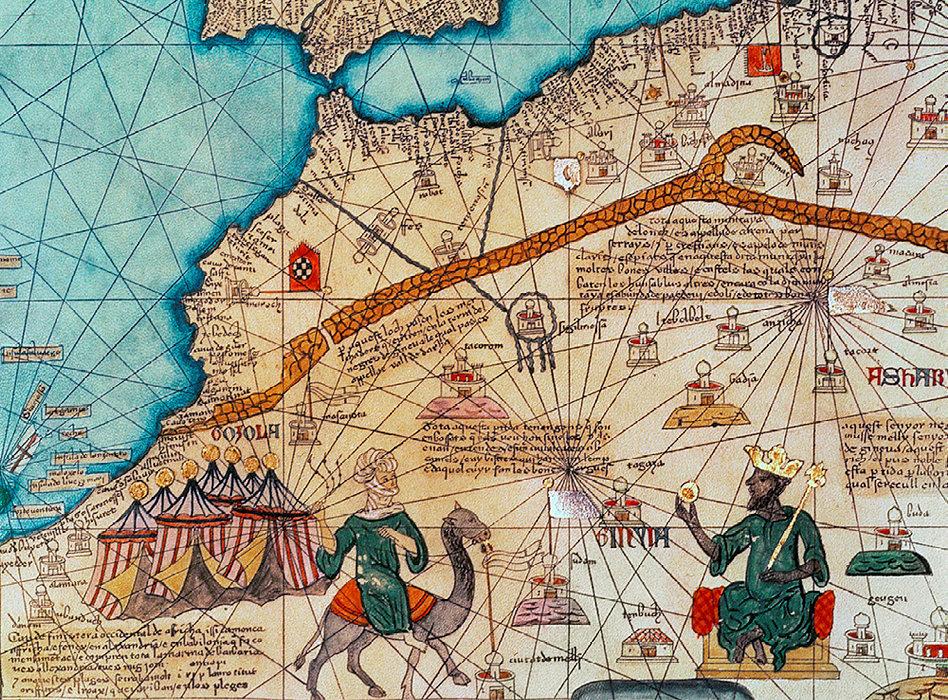 AfriquEurope. Mansa Moussa (à dr.), le roi de l'empire du Mali de 1312 à 1337, avait des relations diplomatiques avec le Portugal,  notamment (manuscrit de l'« Atlas catalan », d'Abraham Cresques, 1375).