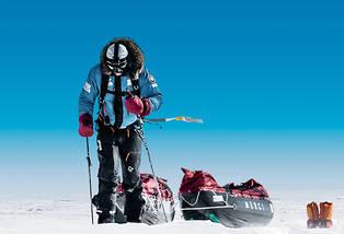 <p>Alban Michon a sillonné seul la banquise durant plus de deux mois, par une température atteignant - 52° C.</p> <p></p>