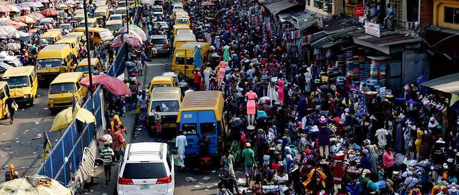 Une rue du centre-ville de Lagos, au Nigeria, en 2018.