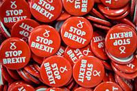Des badges << Stop Brexit >> du Parti national ecossais en octobre.