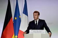 Emmanuel Macron lors d'une conference de presse avec Angela Merkel, le 16 octobre, a Toulouse.