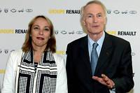 Directrice financiere de Renault, Clotilde Delbos, ici au cote de Jean-Dominique Senard est directrice generale par interim, le temps pour le groupe francais de trouver un remplacant a Thierry Bollore.
