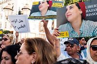 <p>Manifestation, mercredi 2 octobre 2019 devant le Parlement a Rabat, en soutien aux inculpés dans l'affaire Hajar Raissouni.</p>