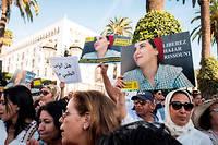 Manifestation, mercredi 2 octobre 2019 devant le Parlement a Rabat, en soutien aux inculpés dans l'affaire Hajar Raissouni.