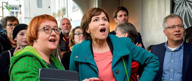 Regula Rytz, la présidente des Verts, exulte après les résultats des législatives.