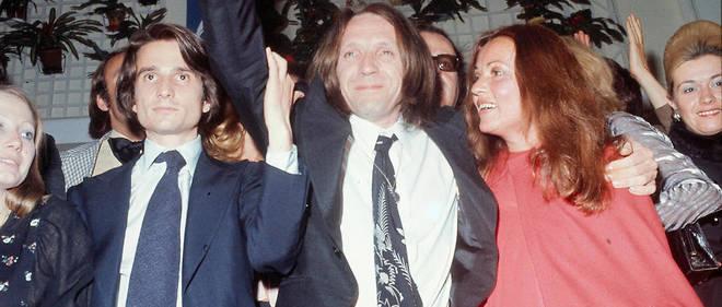Jean-Pierre Léaud, Jean Eustache et Jeanne Moreau pendant le Festival de Cannes.