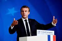 Le président Emmanuel Macron s'adresse aux journalistes à l'issue du Conseil européen le 19 octobre à Bruxelles.