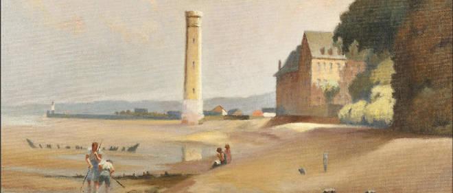 Phare de Honfleur et Pêcheurs à pied de Max Touret