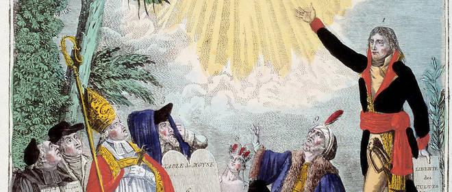 Représentation de la liberté de culte de toutes les religions maintenue par Napoléon Bonaparte (1769-1821). Le premier consul indique le triangle de la Trinité symbolisant Dieu, vénèré par les représentants de chaque religion : évêque catholique, un juif, un quaker, un ministre protestant, un prêtre chinois (bouddhiste), un grec orthodoxe, un Mexicain, un musulman et un hindou. Allégorie du Concordat de 1801. Gravure de 1801 Paris, musée Carnavalet