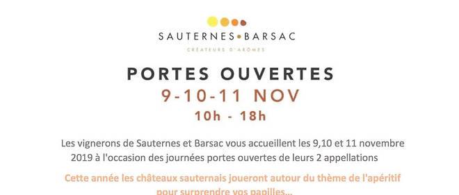 Les 9, 10 et 11 novembre prochains se déroulera l'édition 2019 des portes ouvertes en sauternes et barsac. 50 propriétés seront de la partie.