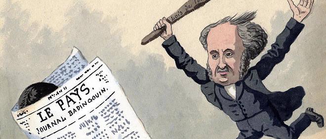 « Autorisé à poursuivre » - poursuites contre la presse : un représentant de l'autorité, bâton en main, frappe un journal (journaliste) qui s'enfuit - Le Pays, journal badingouin. Image d'illustration.