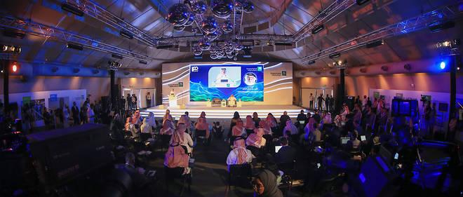 Conférence de presse de Saudi Aramco, le 3 novembre, à l'occasion de l'introduction en Bourse d'une partie du capital.