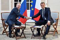 Emmanuel Macron et Vladimir Poutine, lors d'une rencontre au fort de Brégançon le 19 août 2019. Image d'illustration.