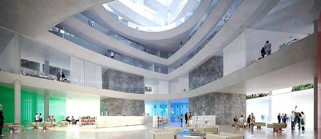 Distribution.  Les salles d'audience les plus grandes seront dans la partie basse; les autres dans les étages de la tour triangulaire.