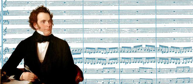 Le compositeur Franz Schubert (1797-1828) et la partition de la symphonie n? 8 dite l'<< Inachevee >>... completee en 2019 grace a des algorithmes.