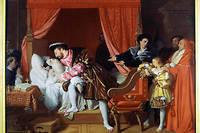 François Ier reçoit les derniers soupirs de Léonard de Vinci (Leonardo da Vinci) au Clos Lucé, peinture de Jean-Auguste-Dominique Ingres (1780 - 1867). Paris, Musée du Petit Palais.