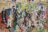 Raoul Dufy (1877-1953), « Le moulin de la Galette », 1942, Aquarelle et plume, 28 x 46 cm. Au verso : « Naissance de Vénus et travaux des champs », dessin à la mine de plomb © Adagp, Paris, 2019